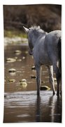 Wild Mustang On The River  Bath Towel