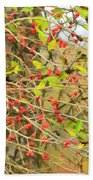 Wild Red Berrie Bush With Birds - Digital Paint Bath Towel