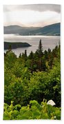Wild Roses At Photographer's Point Overlooking Bonne Bay In Gros Morne Np-nl Bath Towel