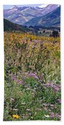 Wildflowers And Mountains  Bath Towel