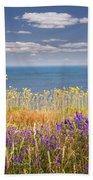 Wildflowers And Ocean Bath Towel