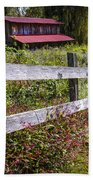 Wildflowers At The Fence Bath Towel