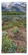 Wildflowers Bloom Below Teton Mountain  Range Bath Towel