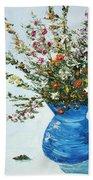 Wildflowers In A Blue Vase Bath Towel