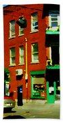 Wilenskys Famous Light Lunch Diner Corner Clark And Fairmount Montreal City Scene Carole Spandau Bath Towel