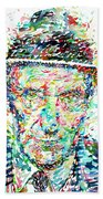 William Burroughs Watercolor Portrait Bath Towel