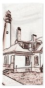 Wind Point Lighthouse Drawing Mode 1 Bath Towel