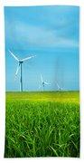 Wind Turbines On Green Field Bath Towel