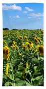 Windblown Sunflowers Bath Towel