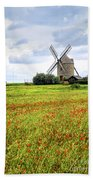 Windmill And Poppy Field In Brittany Bath Towel