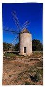 Windmill In El Pilar De La Mola On Formentera Bath Towel