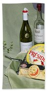 Wine Cheese And Crackers Bath Towel