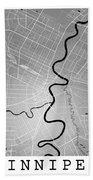Winnipeg Street Map - Winnipeg Canada Road Map Art On Colored Ba Bath Towel