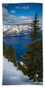 Winter At Crater Lake Bath Towel