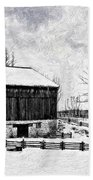 Winter Barn Impasto Version Bath Towel