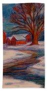 Winter Barn Scene Bath Towel