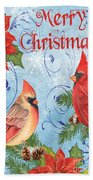 Winter Blue Cardinals-merry Christmas Card Bath Towel