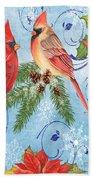 Winter Blue Cardinals-peace Card Bath Towel