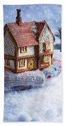 Winter Cottage In Gloved Hand Bath Towel