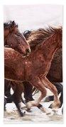 Winter Hardened Wild Horses Bath Towel