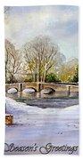 winter in ashford Derbyshire Bath Towel