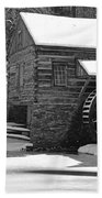 Winter Mill In Black And White Bath Towel