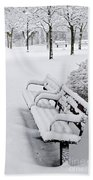 Winter Park With Benches Hand Towel by Elena Elisseeva