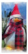Winter Penguin Photo Art Bath Towel