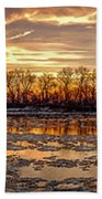 Winter River Sunrise Bath Towel