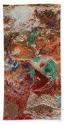 Winter Sunrise Abstract Painting Bath Towel by Julia Apostolova