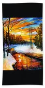 Winter Sunset - Palette Knife Oil Painting On Canvas By Leonid Afremov Bath Towel