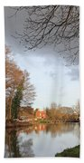 Winter Sunshine On The Wey Canal Surrey Uk Bath Towel