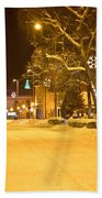 Winter Time Street Scene In Krizevci Bath Towel