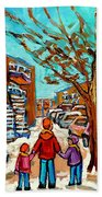 Winter Walk Montreal Paintings Snowy Day In Verdun Montreal Art Carole Spandau Bath Towel