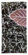 Winter With Frosted Leaf On Frozen Grass Bath Towel