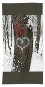 Winter Woods Romance Bath Towel