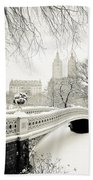 Winter's Touch - Bow Bridge - Central Park - New York City Bath Towel