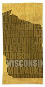 Wisconsin Word Art State Map On Canvas Bath Towel by Design Turnpike