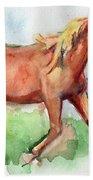 Horse Painted In Watercolor Wisdom Bath Towel