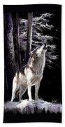 Wolf  Howling Memory Bath Towel