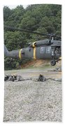 Wolfhounds Air Assault From A Uh-60 Bath Towel