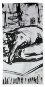 Woman Alone With Shadows Bath Towel