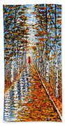 Woman In Red In Fall Rainy Day Hand Towel