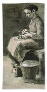 Woman Peeling Potatoes, 1882 Bath Towel