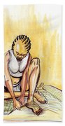 Woman Plaiting Mats In Rwanda Bath Towel