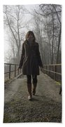 Woman Walking With Her Dog On A Bridge Bath Towel