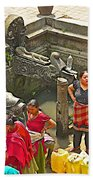 Women Get Bagmati River Holy Water From Ornate Fountains In Patan Durbar Square In Lalitpur-nepal  Bath Towel