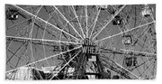 Wonder Wheel Of Coney Island In Black And White Bath Towel