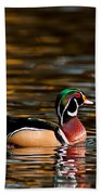 Wood Duck At Morning Bath Towel
