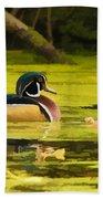 Wood Duck On Pond    Bath Towel